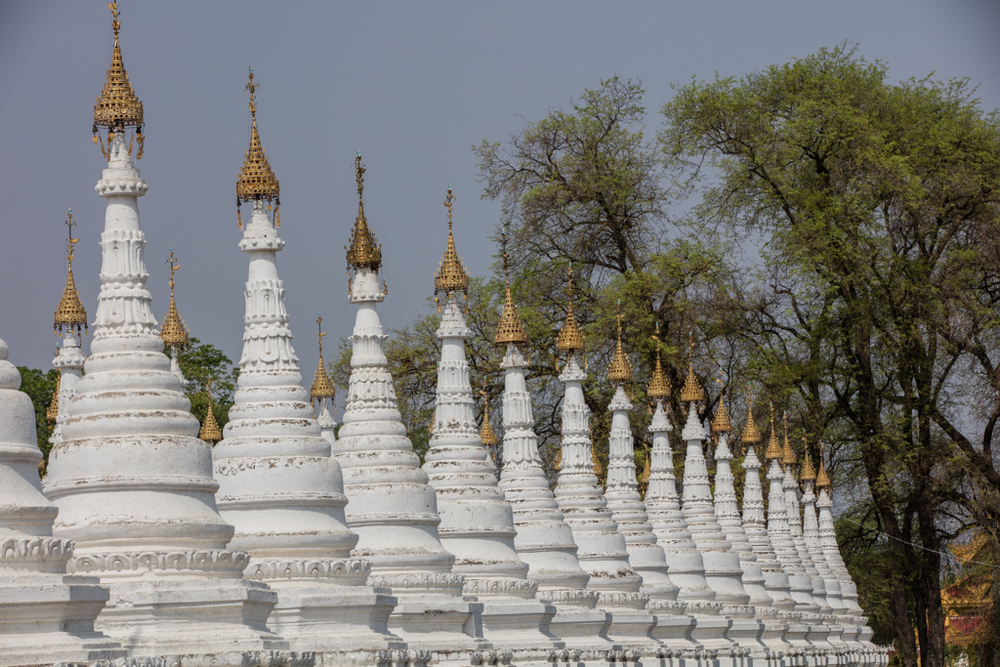 White stupas in a row
