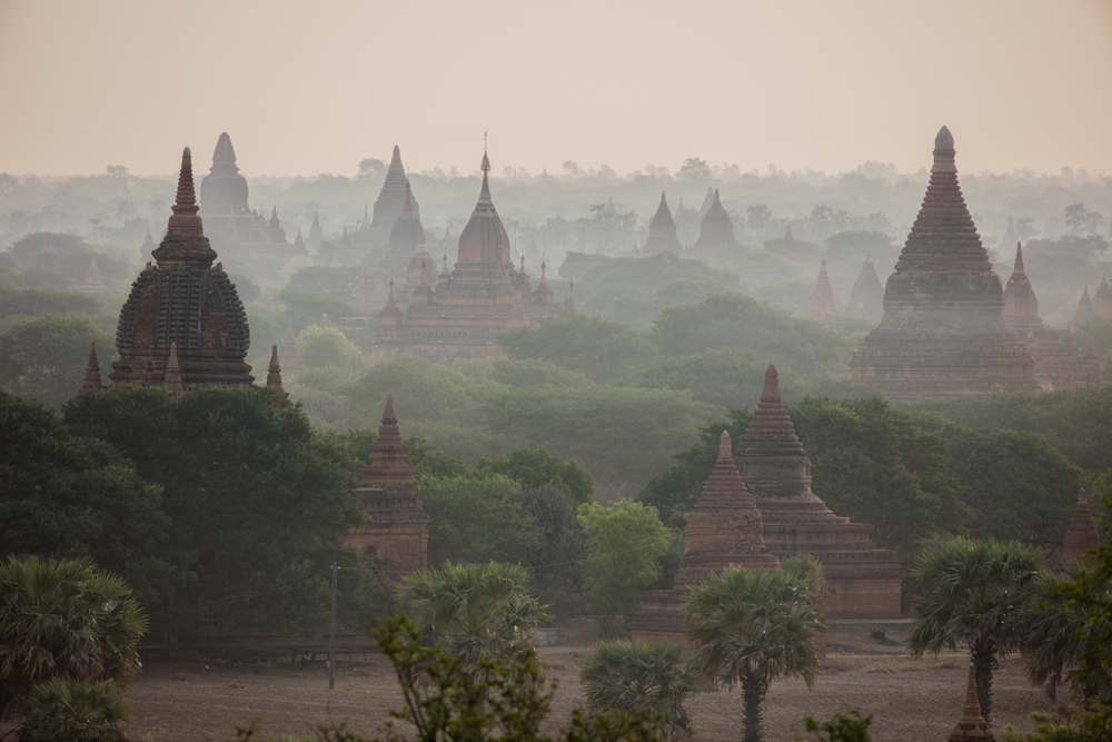 Mist in early morning in Bagan