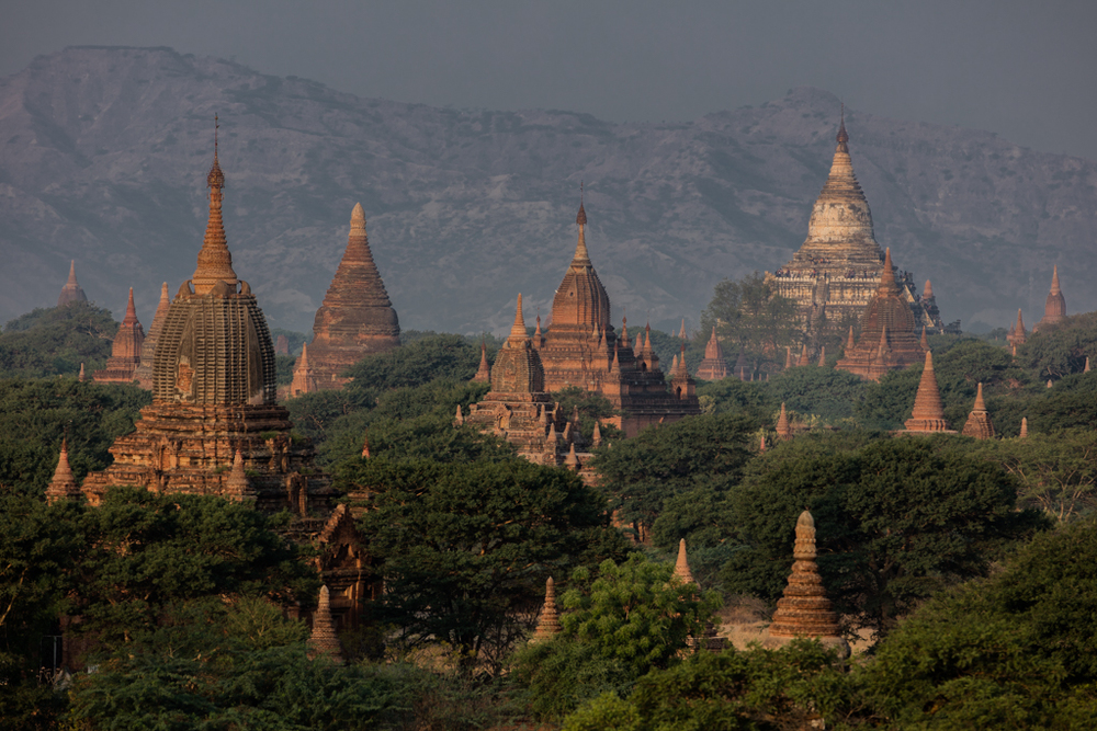 Illuminated temples in Bagan
