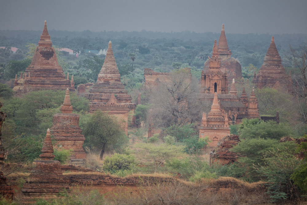 Temples of Bagan in the evening