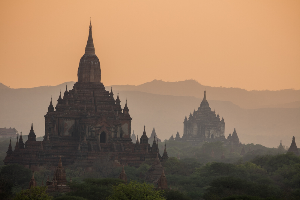 Close-up of temples in Bagan