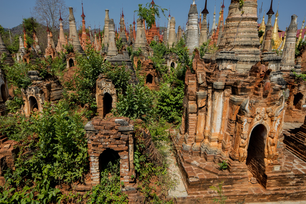 Uncountable pagodas in Indein