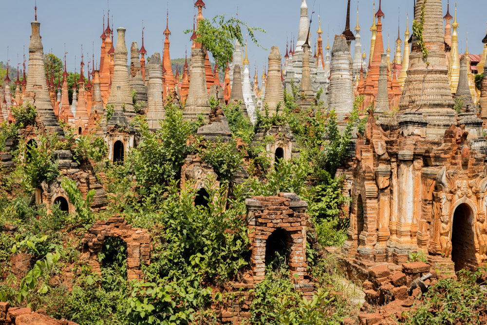 Plants and pagodas in Indein
