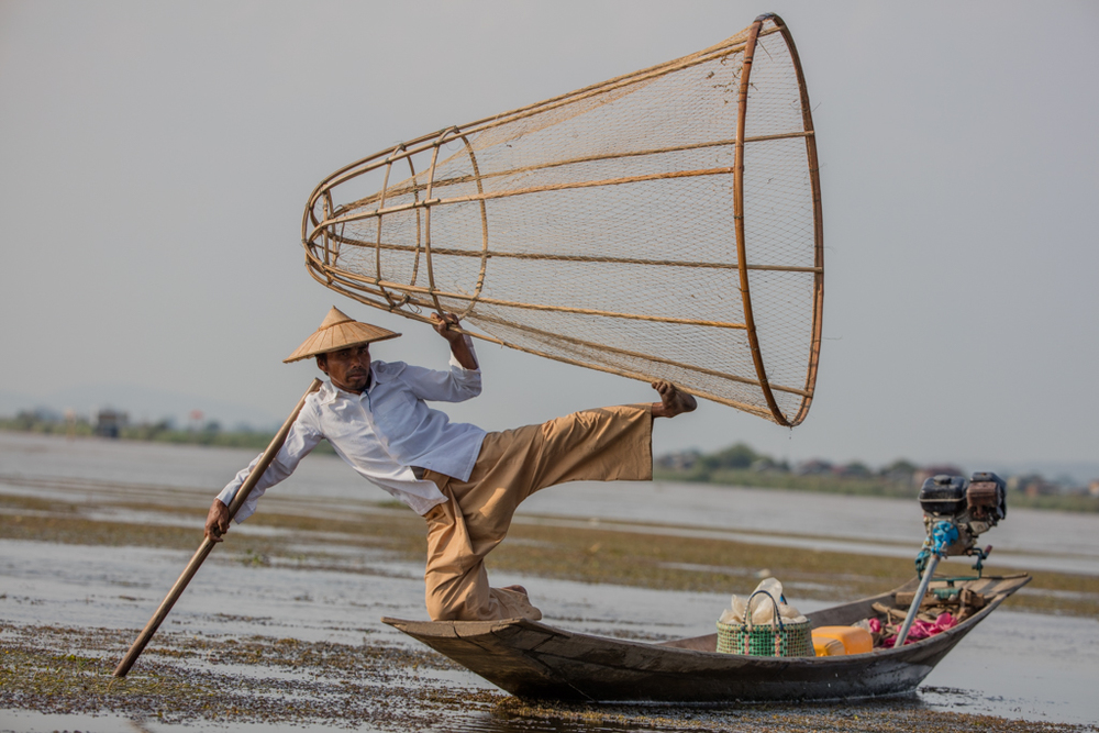 Fisherman with net at Inle Lake