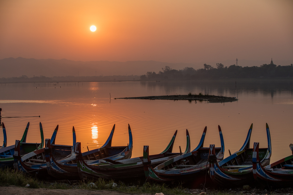 Boats at sunrise in Amarapura