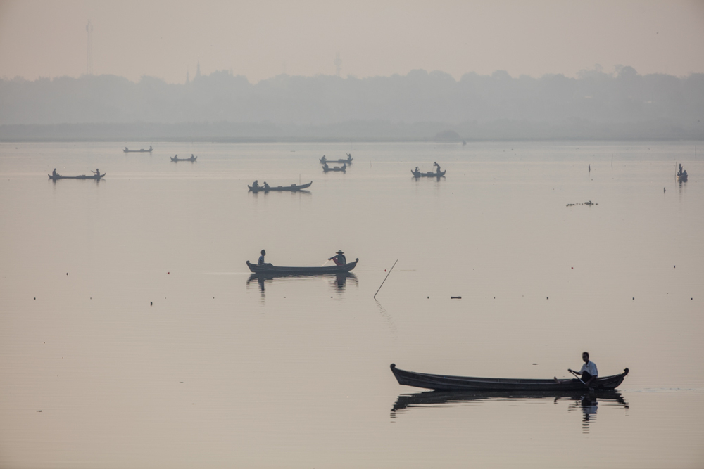 Boats at Amarapura lake