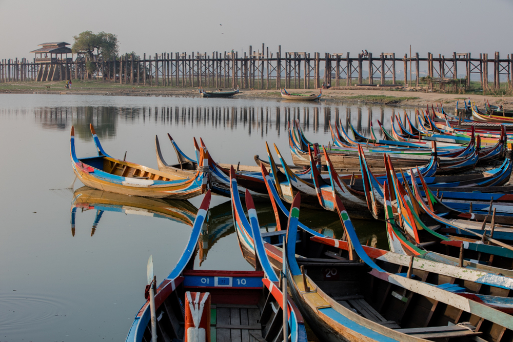 Colorful boats in Amarapura