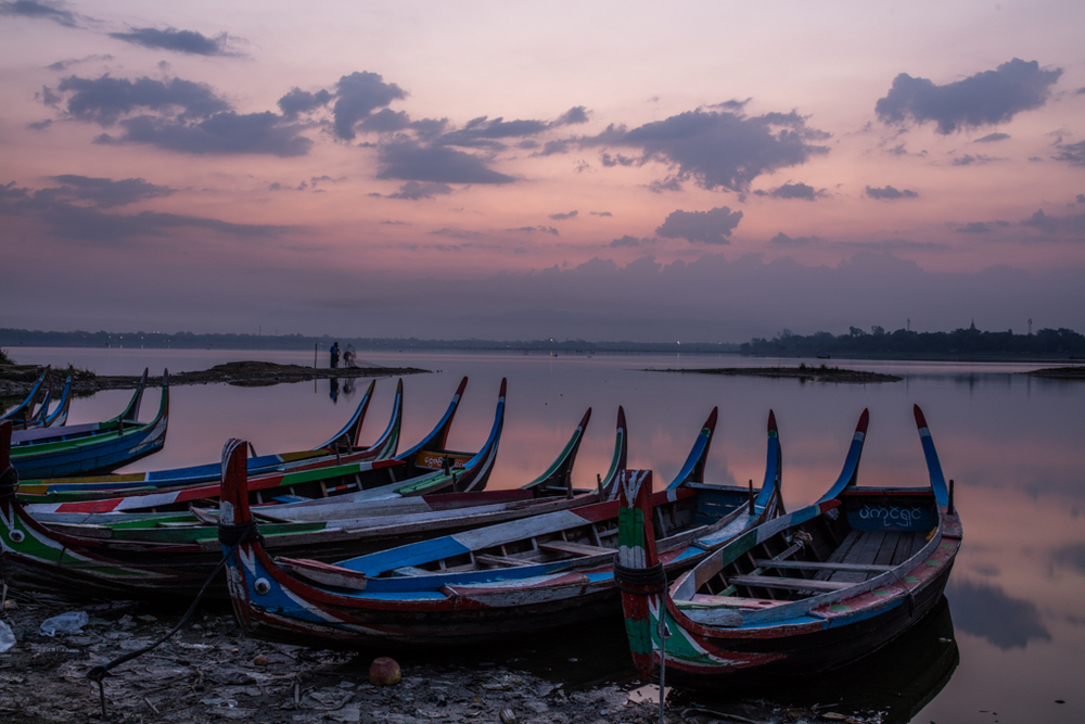 Boats before sunrise at Amarapura