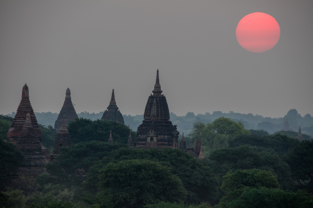 Sunset with temples in Bagan