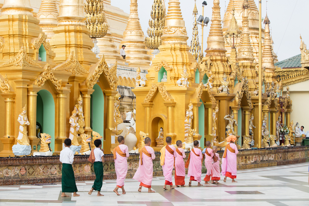 Nuns in front of Shwedagon Pagoda