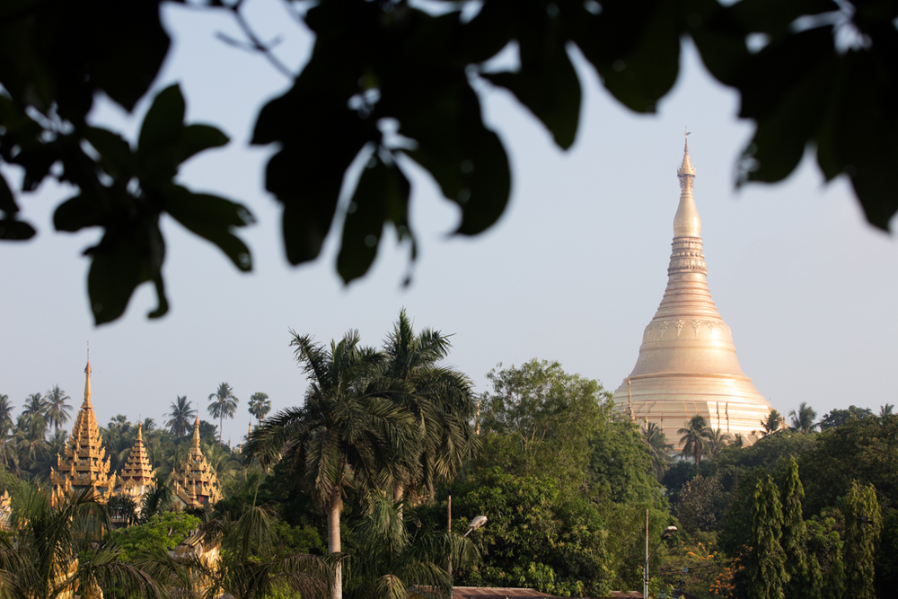 Shwedagon Pagoda from nearby lake