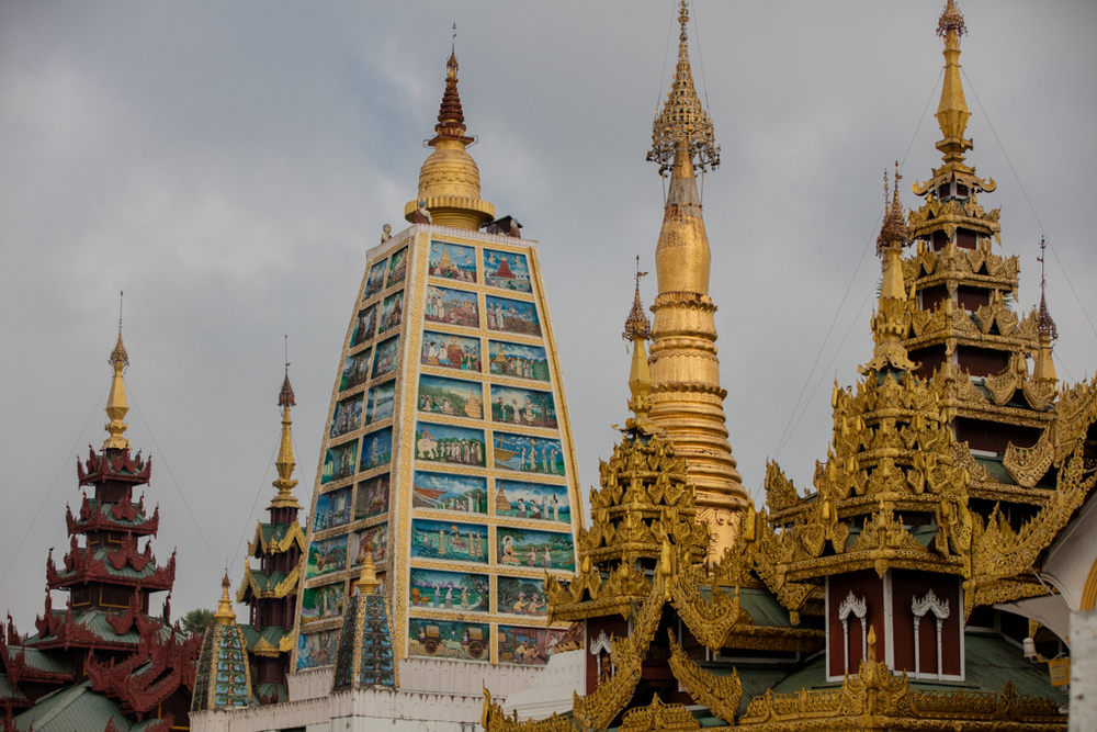 Pagodas inside Shwedagon Pagoda