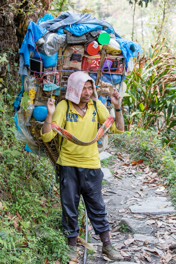Porter in Nepal with 60kg