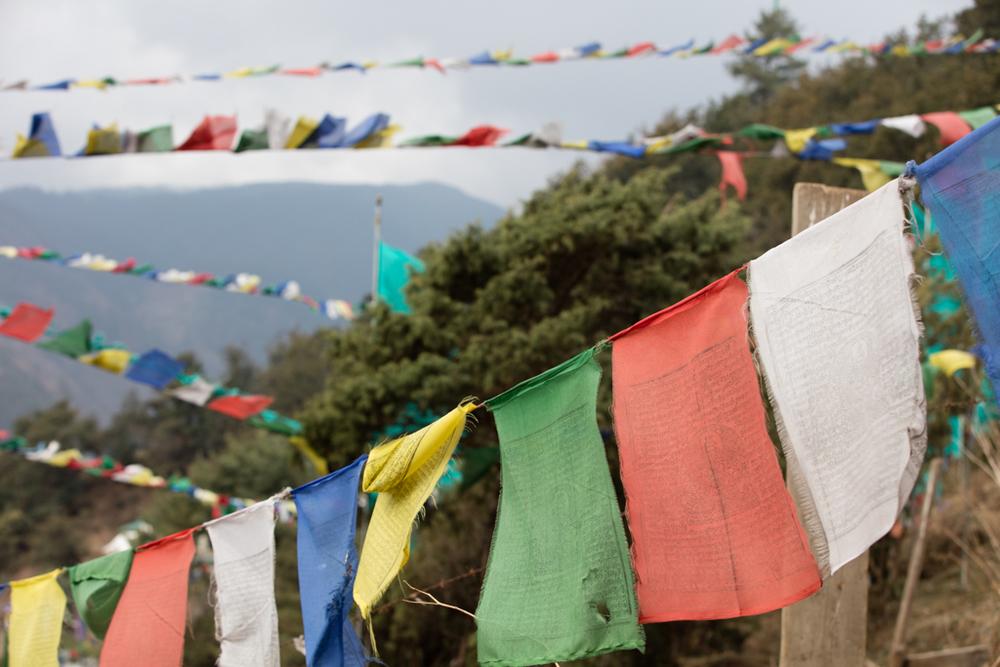 Prayer flags above the monastery