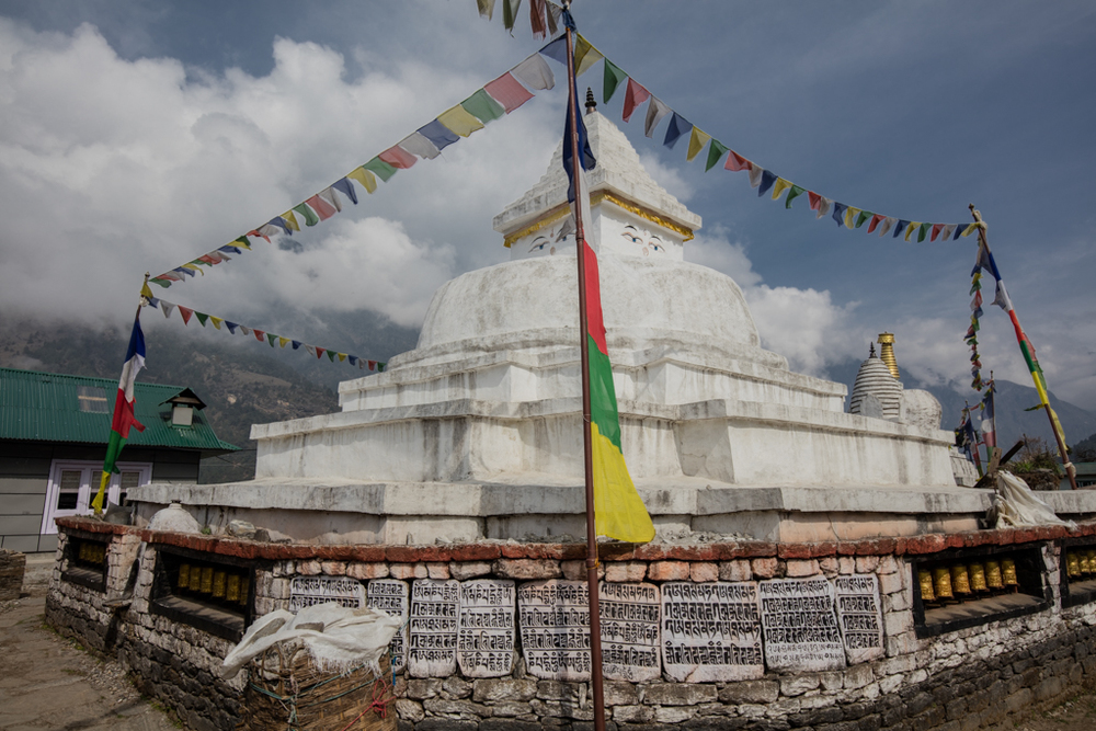 Gompa with prayer wall