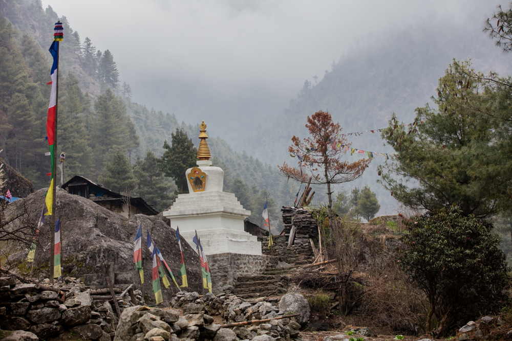 Gompa in foggy conditions