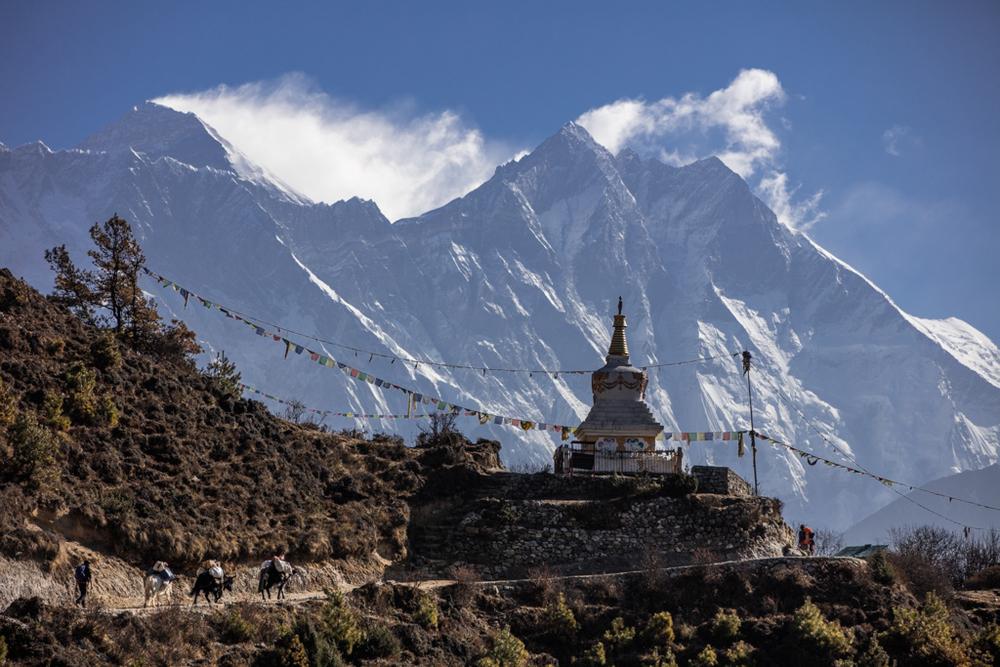 Mount Everest seen close after Namche