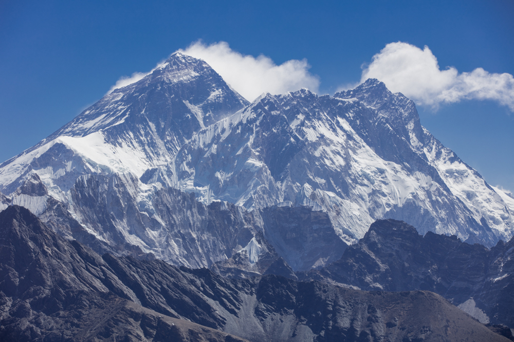 Clouds on Everest and Lhotse