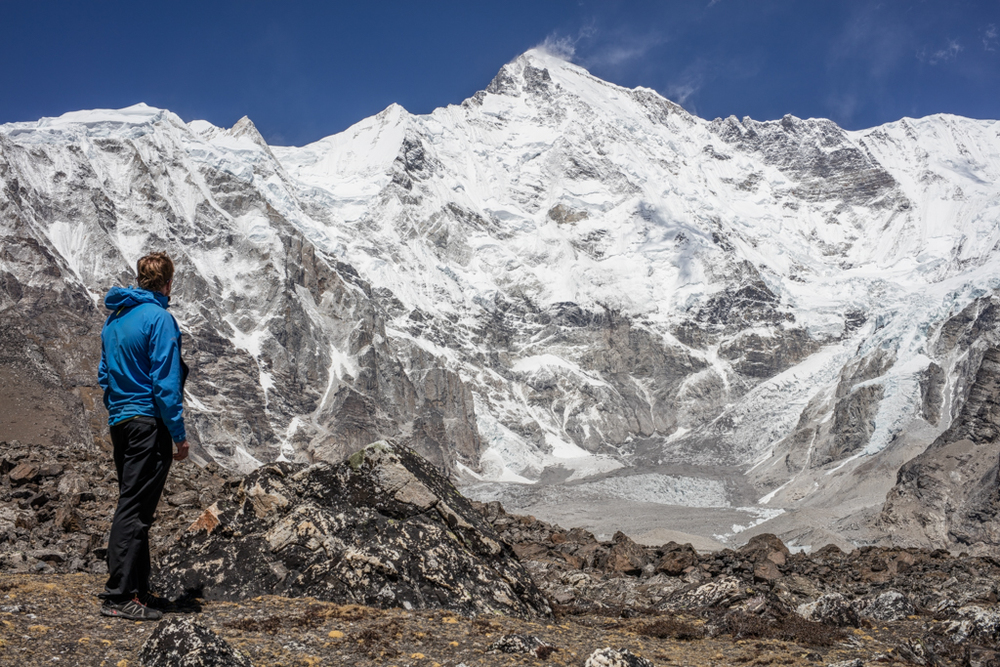 Jelle in front of the south face of Cho Oyu