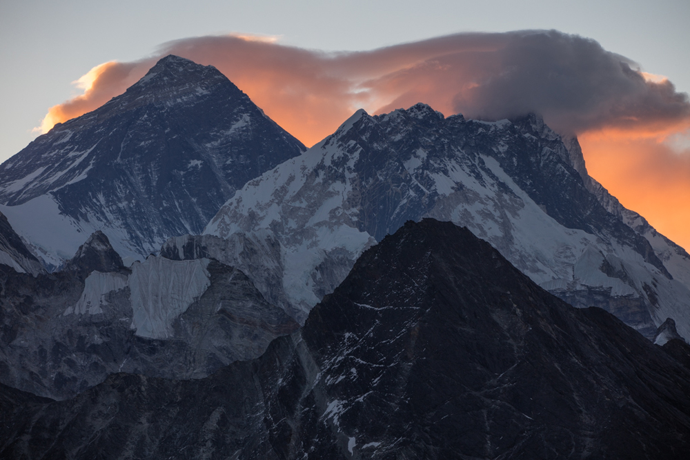 Mount Everest with red clouds