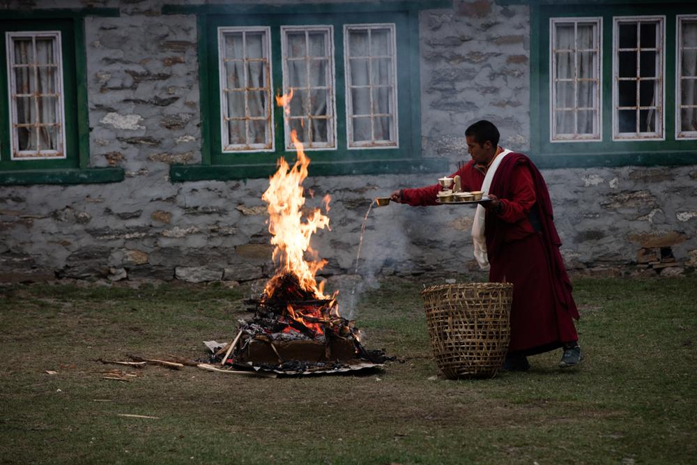Private ceremony of monk