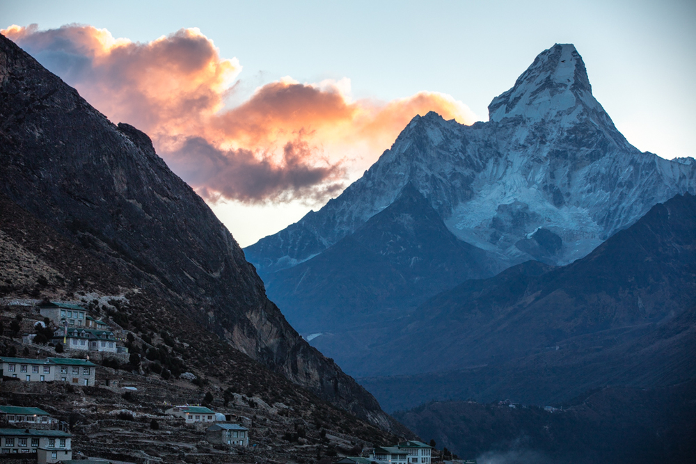 Ama Dablam with red clouds