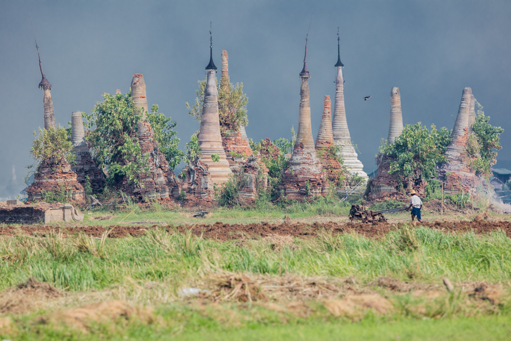 Stupas close to Inle Lake