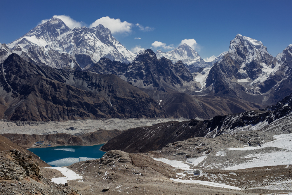 View to Everest, Lhotse and Makalu