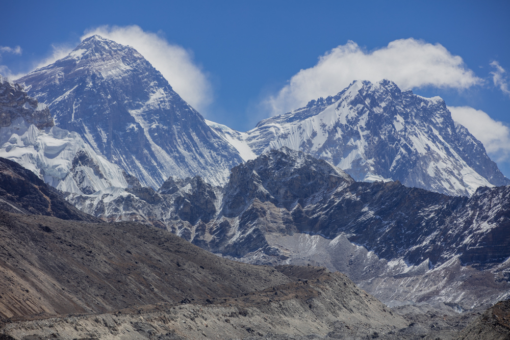 Everest and Lhotse with clouds