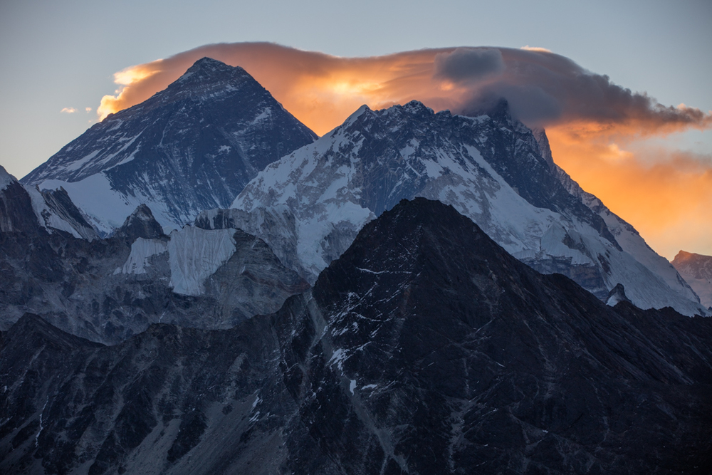 Everest with red clouds