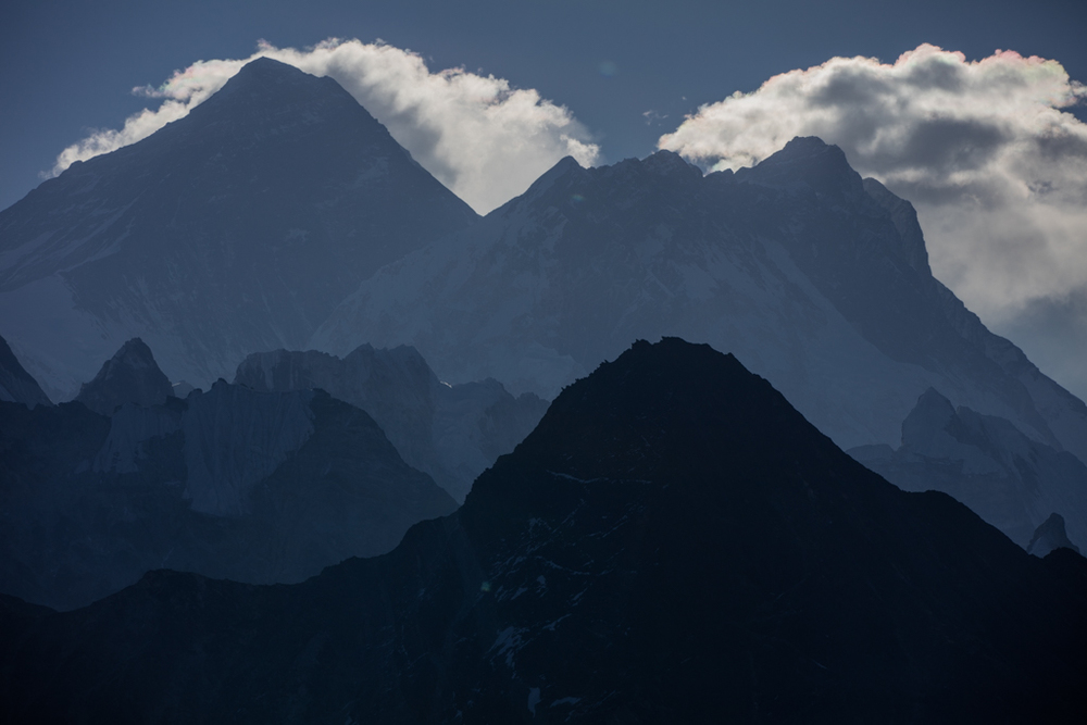 Clouds on Everest after sunrise