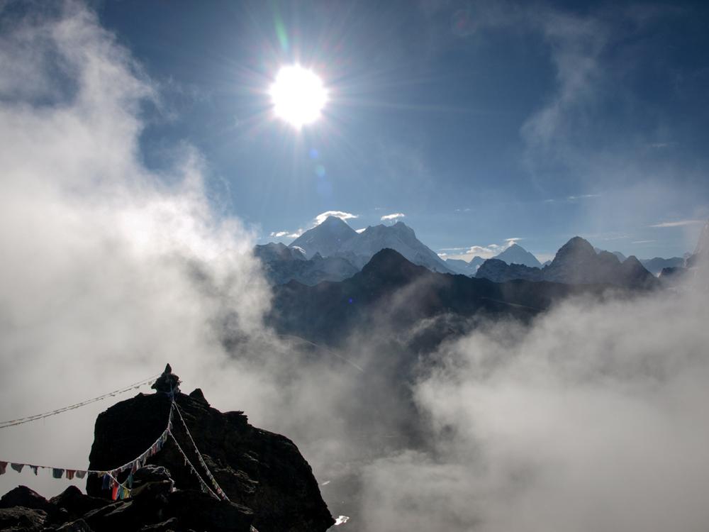 Everest and fog on the glacier