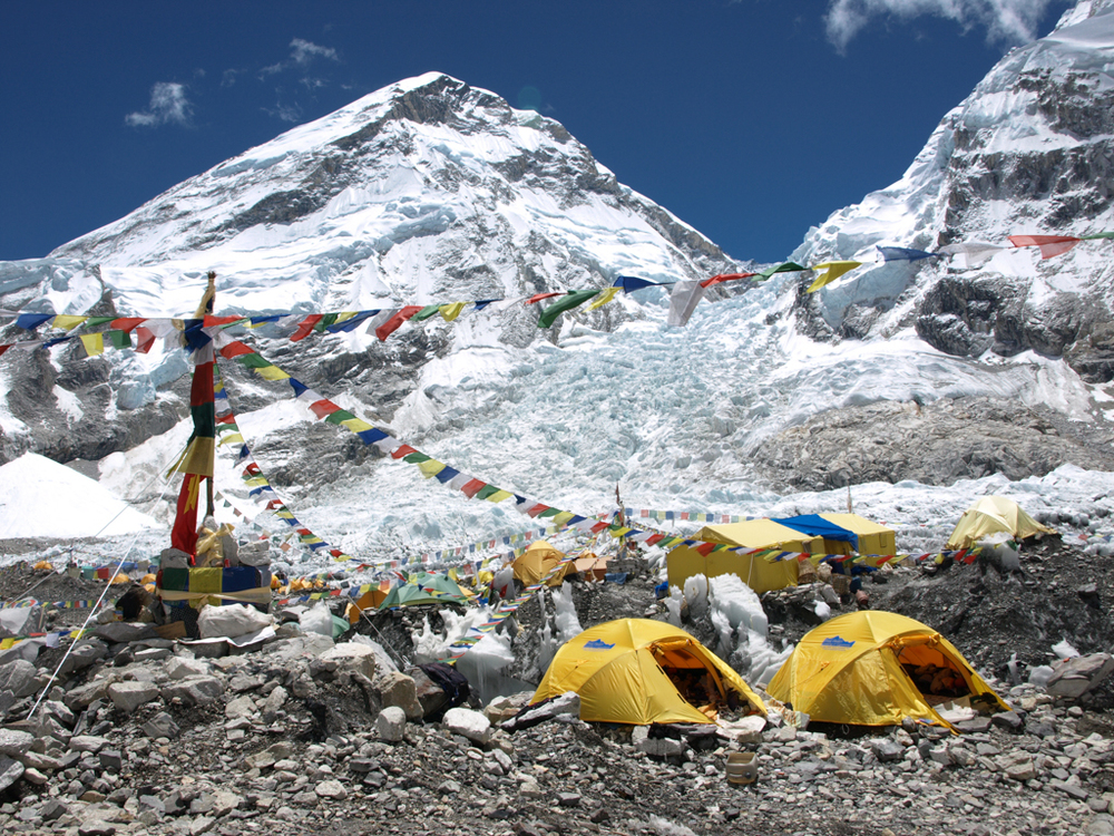 Prayer flags and tents at Everest Base Camp