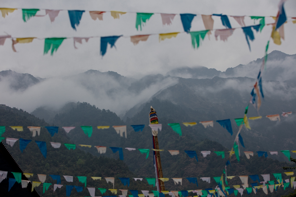 Flags and clouds at Lukla