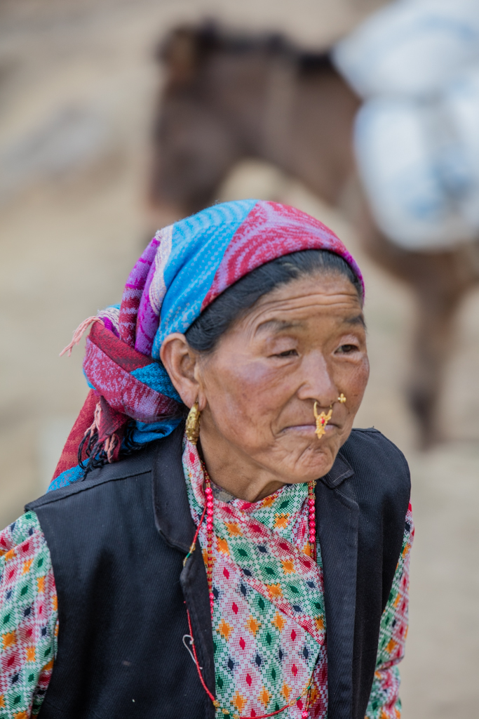 Traditional nose ring of Nepalese woman