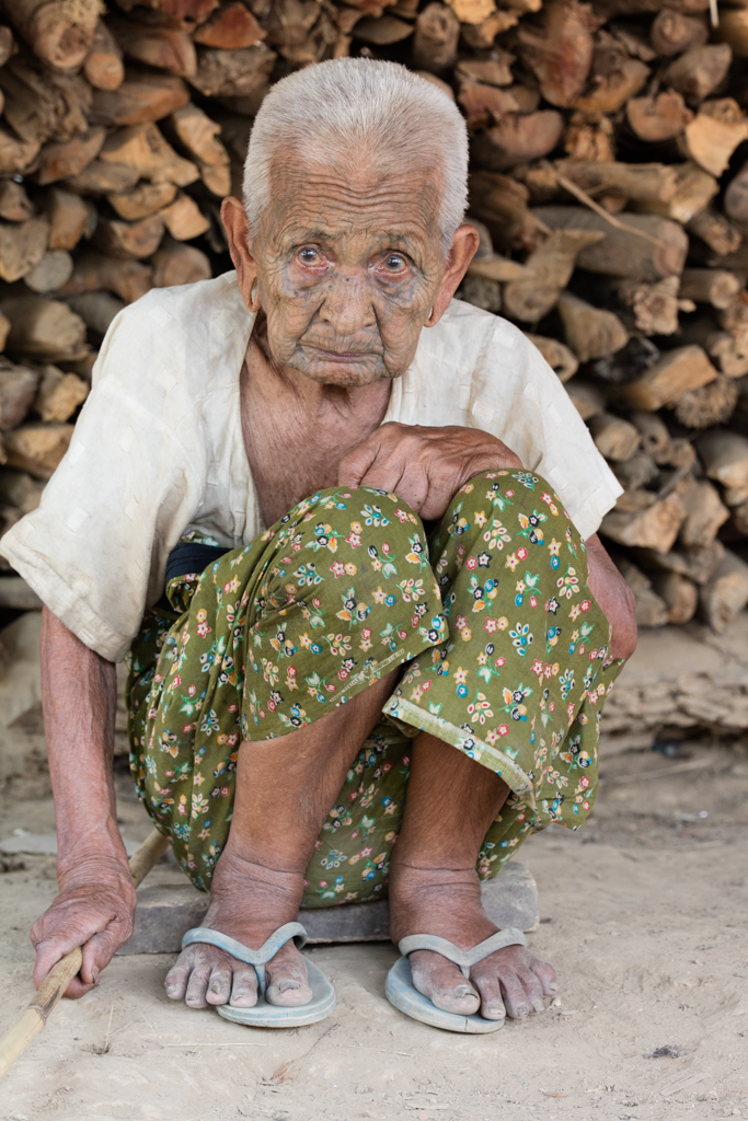 Tattooed 103 year old woman in Myanmar