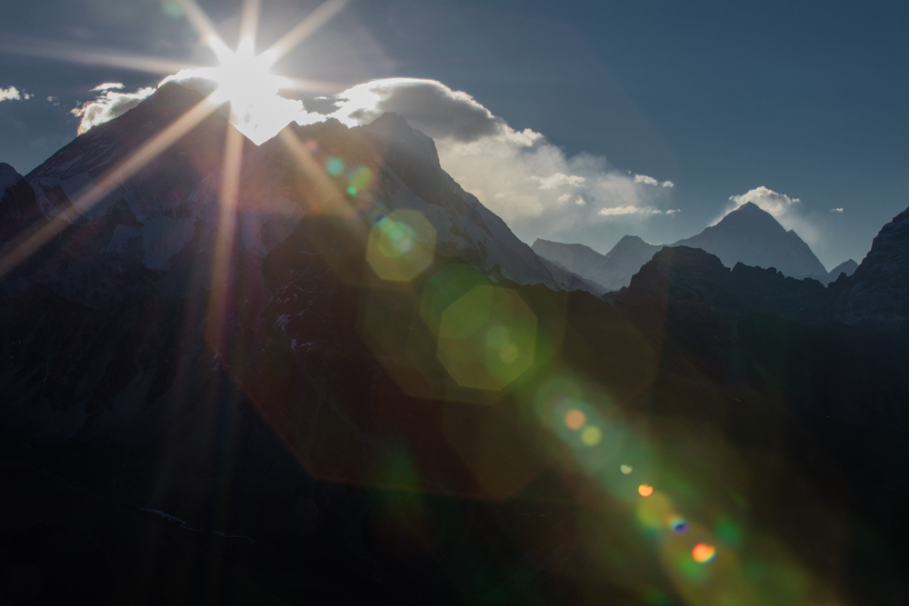 Mt. Everest with sunrays