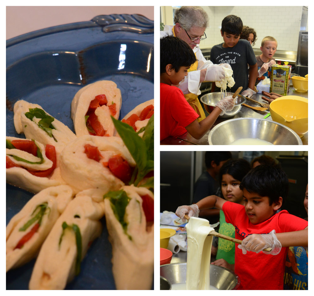 Our Young Chefs making fresh mozzarella.