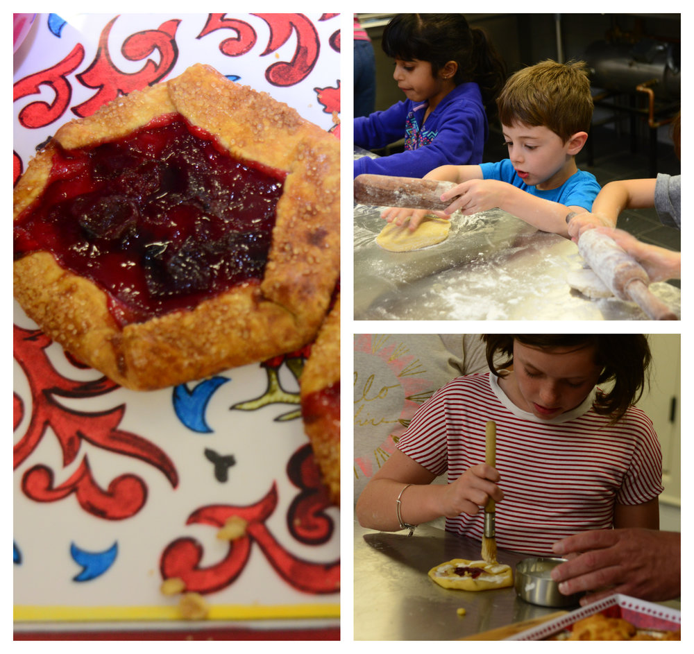Kids learning to make plum crostata topped with homemade plum jam filling.