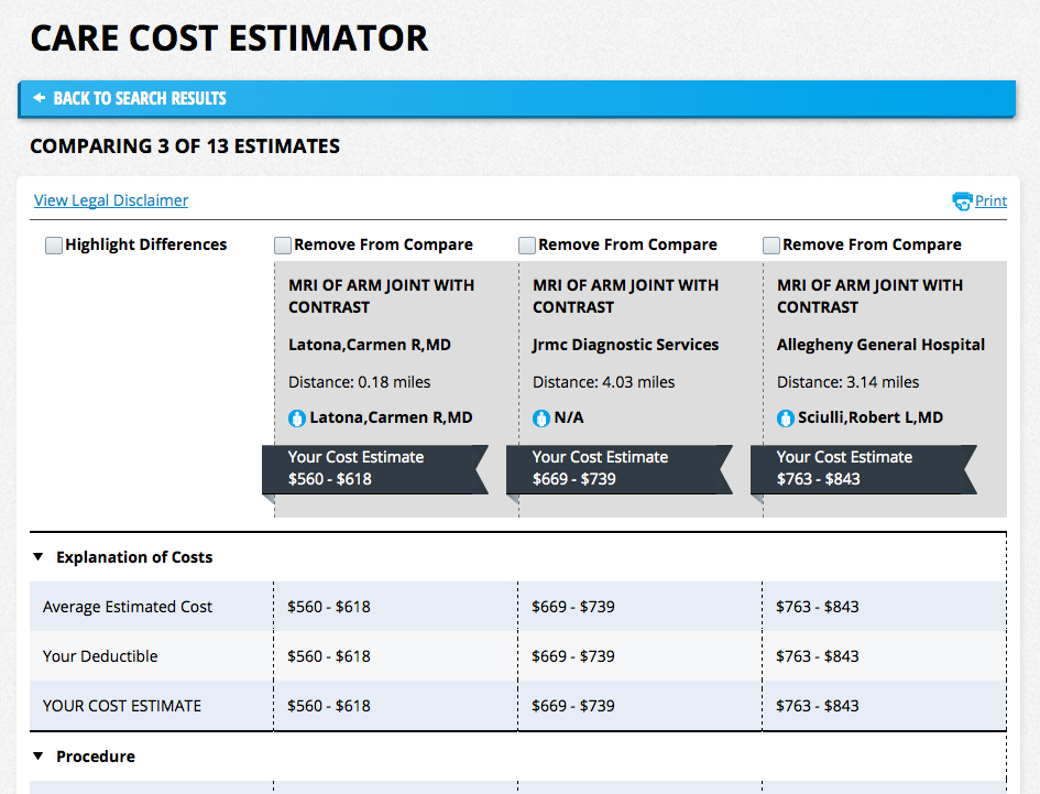 A screen shot of the live cost calculator