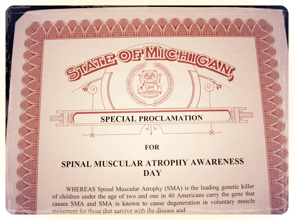 Aug. declared as SMA Awareness Month in the State of MI.JPG