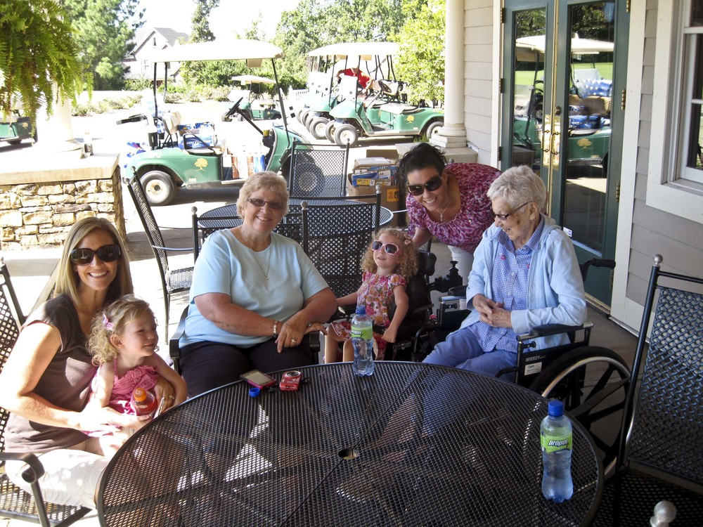 Four Generations!  Sarah (mom), Brooke, Grandma Liz, Brielle, Aunt Christen, and Great-Grandma Gladys.