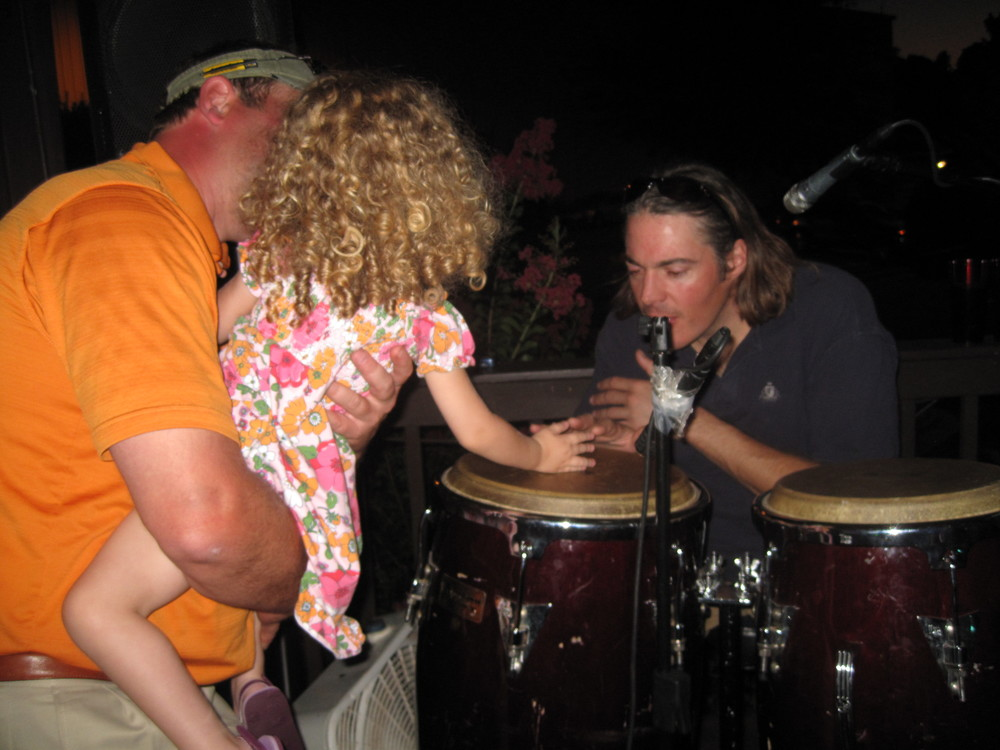 Brielle playing the drums at the Rusty Rudder later that night.