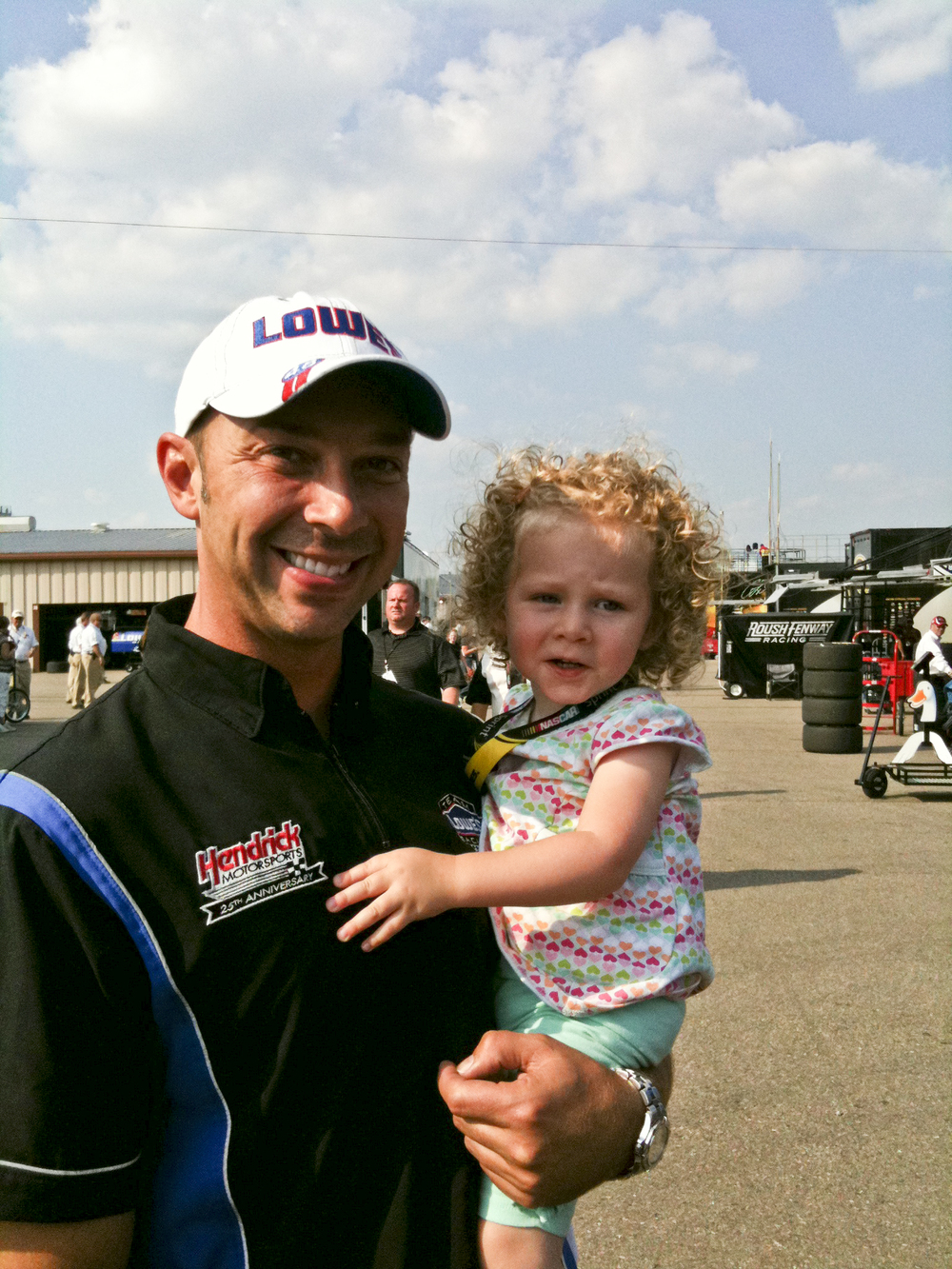 Chad Knaus and Brielle at Michigan International Speedway.