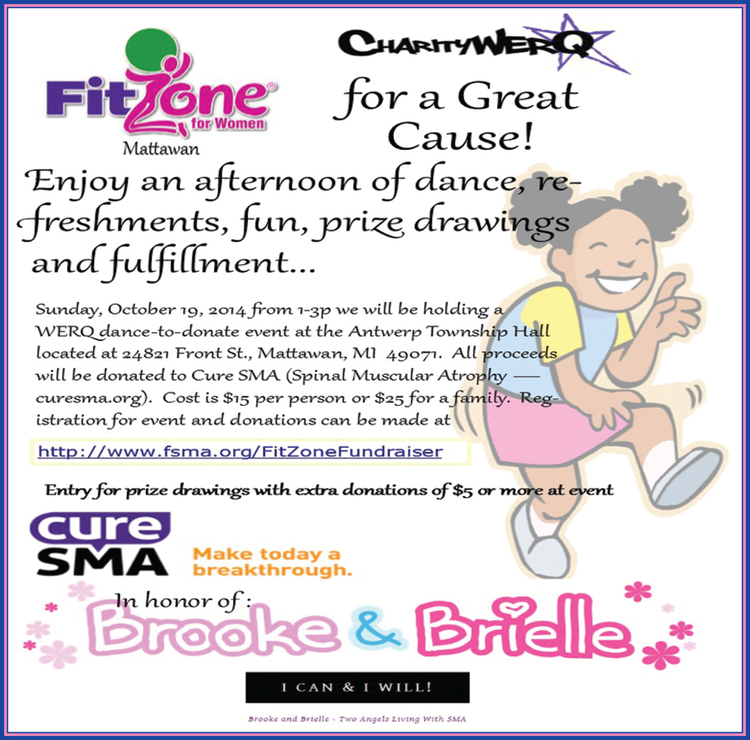 CharityWERQ FitZone Mattawan Flyer for CureSMA.