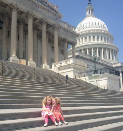 Brooke and Brielle visit the U.S. Capitol in the summer of 2014.