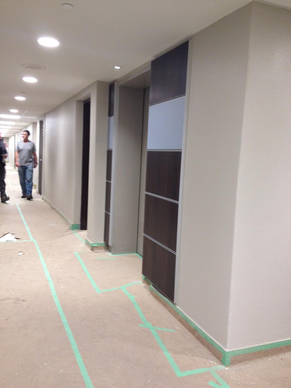 In Progress Elevator Lobby Panels Opposite Side