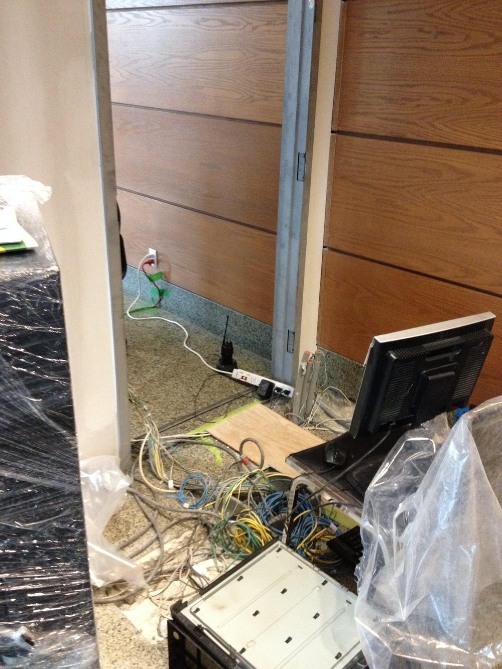 In Progress Security and Elevator Cabling Being Relocated
