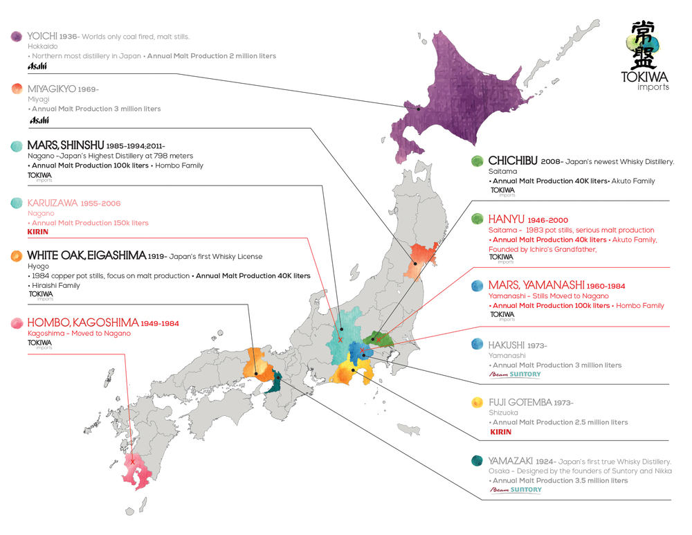 Japanese Scotch Whisky Maker Map