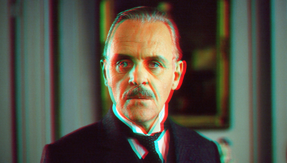 WARNING: This is an actual 3D image of Anthony Hopkins. When viewed through anaglyph red/blue glasses it can cause hallucinations that a Welsh butler is serving you tea.